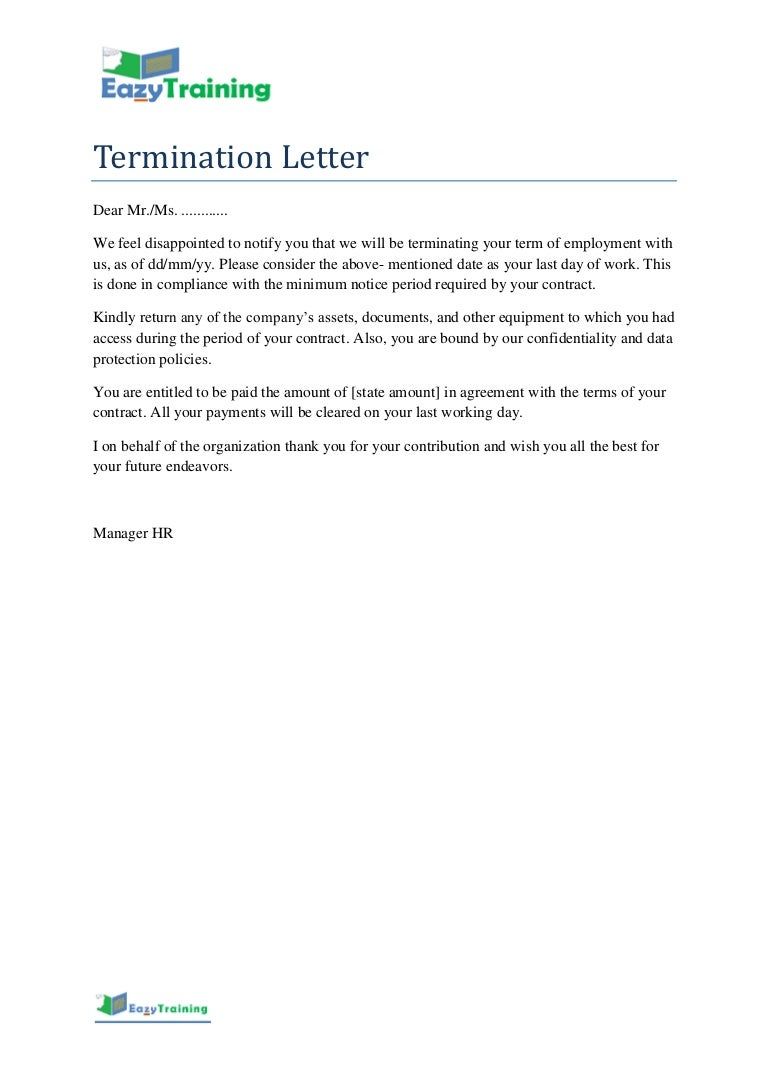 Termination Letter Template Format for Employee on Contract Basis