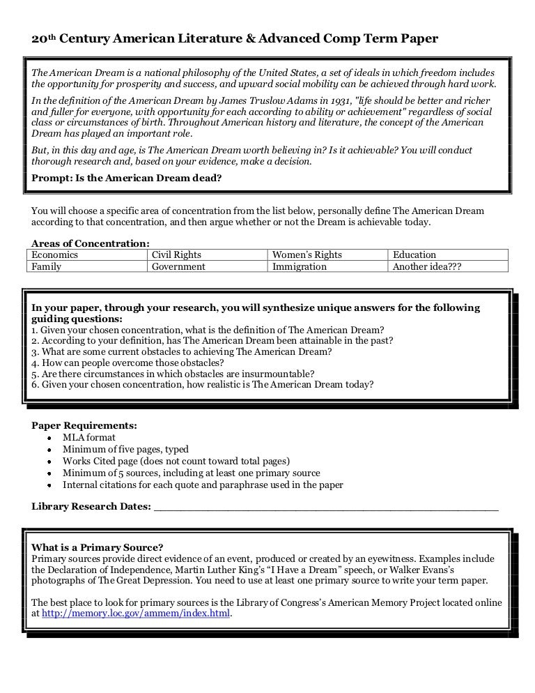 American gov term paper
