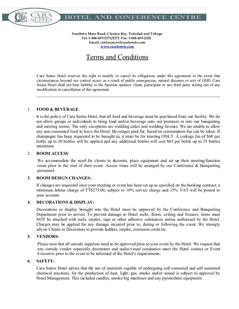 Terms and conditions template for Booking terms and conditions template