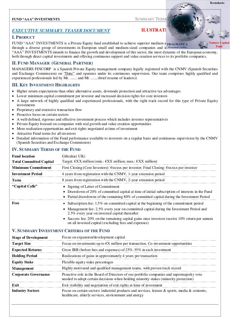Venture capital fund terms and conditions. Termsheets sample . A fund…