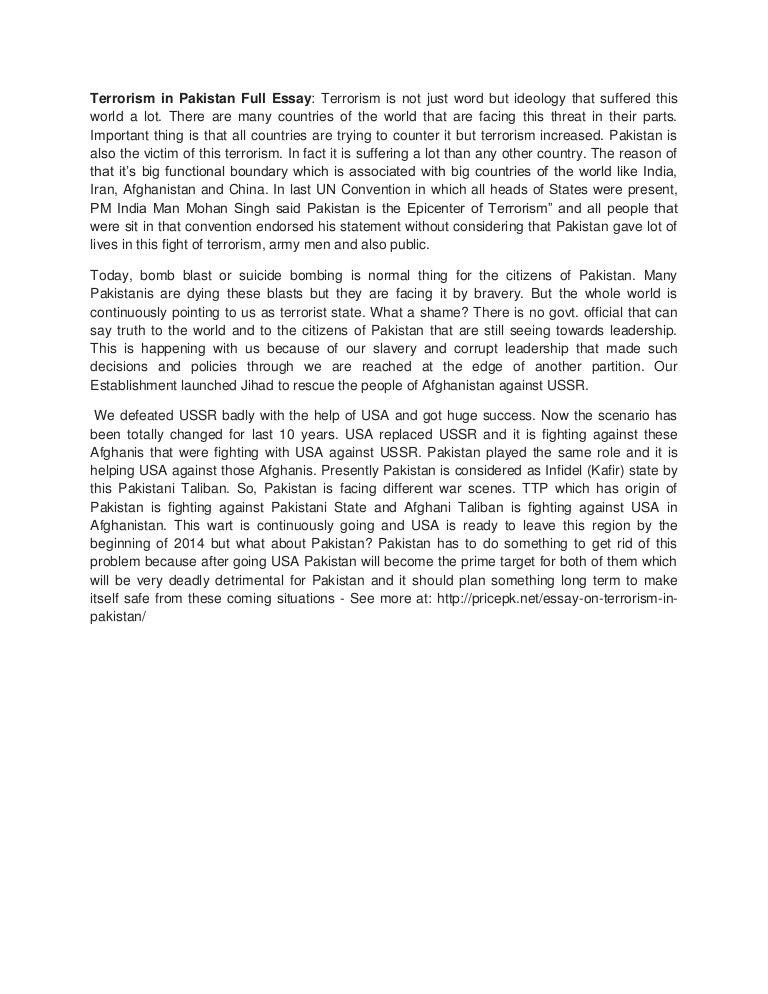Essay On Terrorism  Elitamydearestco Essay On Terrorism Terrorisminpakistanfullessay  Phpapp  Thumbnail  Jpg Cb