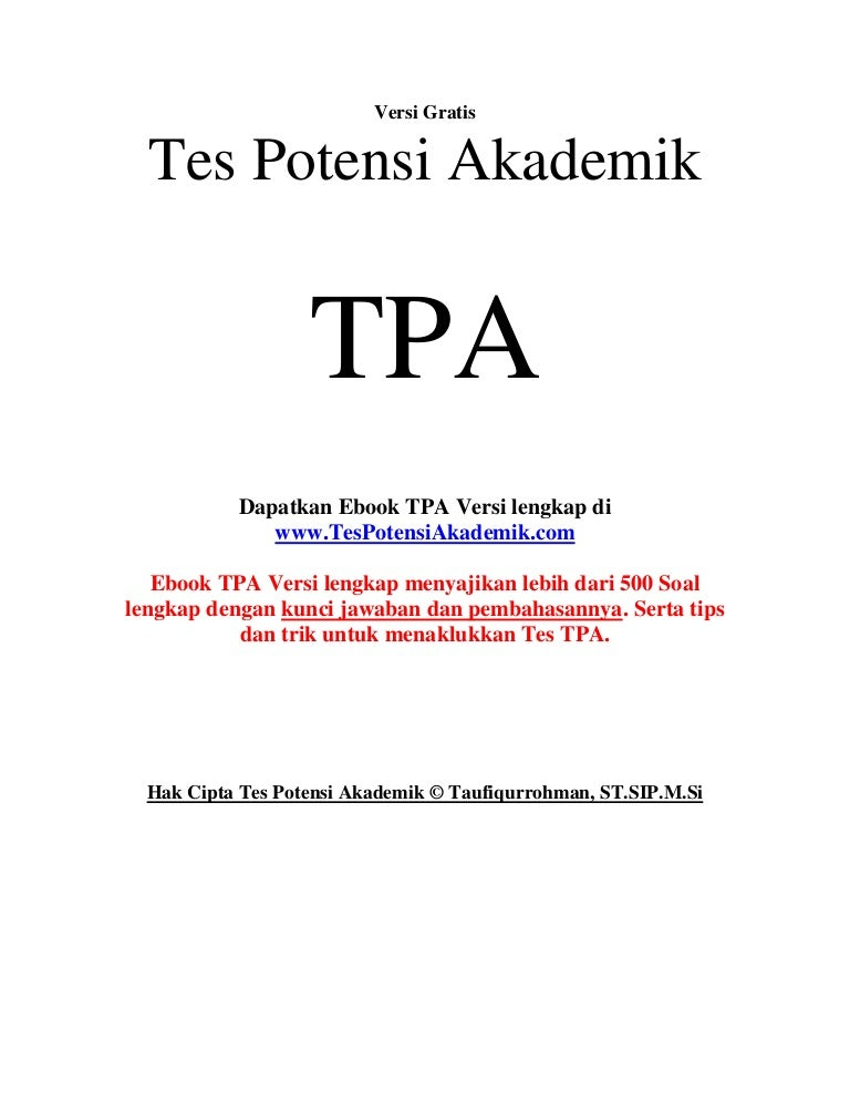 Tes Potensi Akademik Tpa Download Gratis