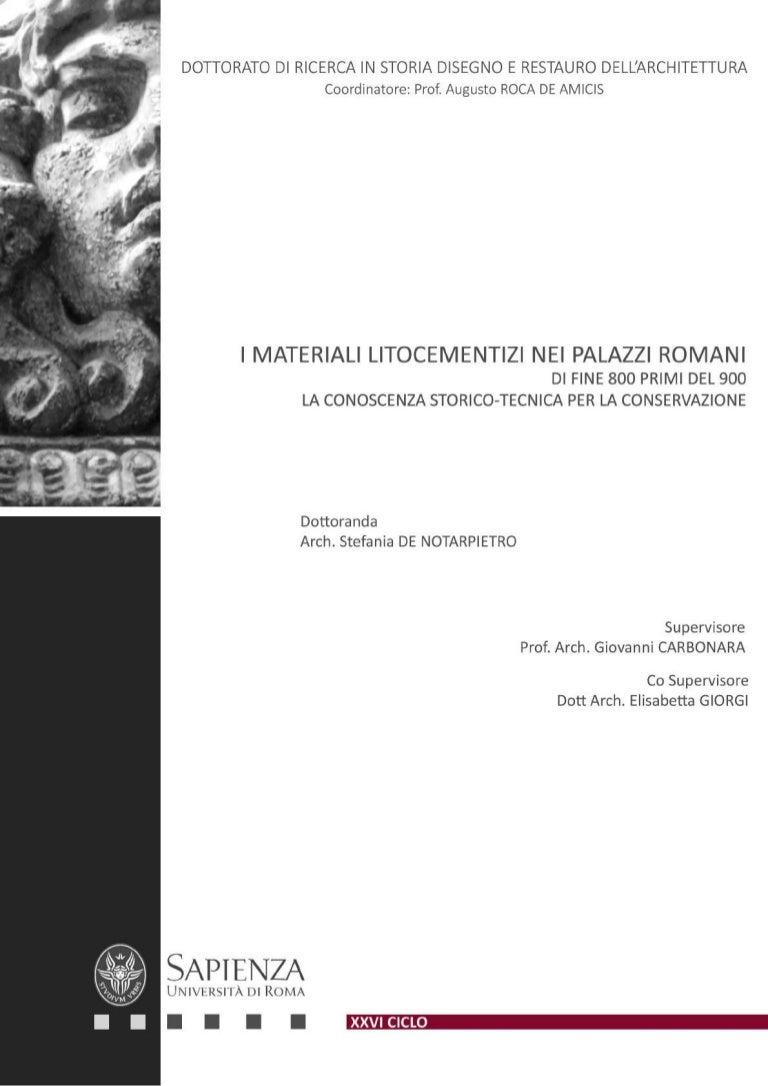 I Materiali Litocementizi Nei Palazzi Romani Di Fine 800 Primi 900