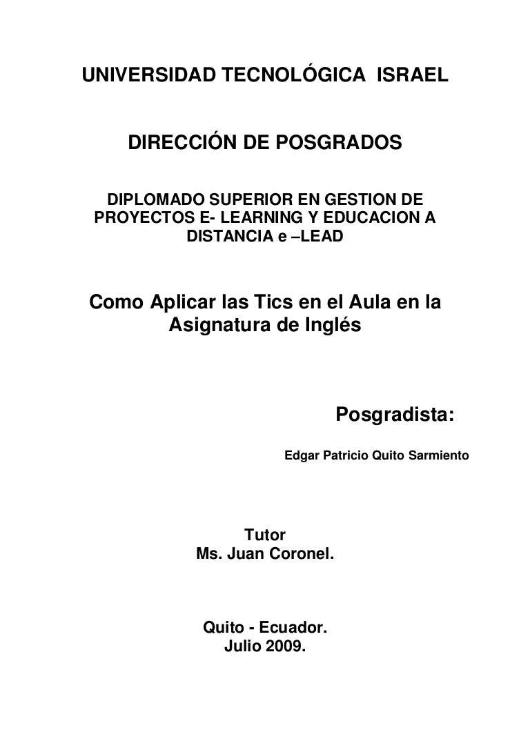 Tesis De AplicacióN De Las Tics En El Area De Ingles