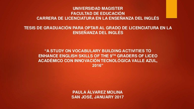 A study on vocabulary building activities to enhance English skills o…