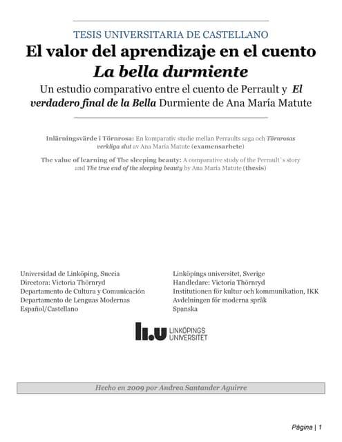 Tesis universitaria de castellano - El valor del aprendizaje en el cuento La Bella Durmiente