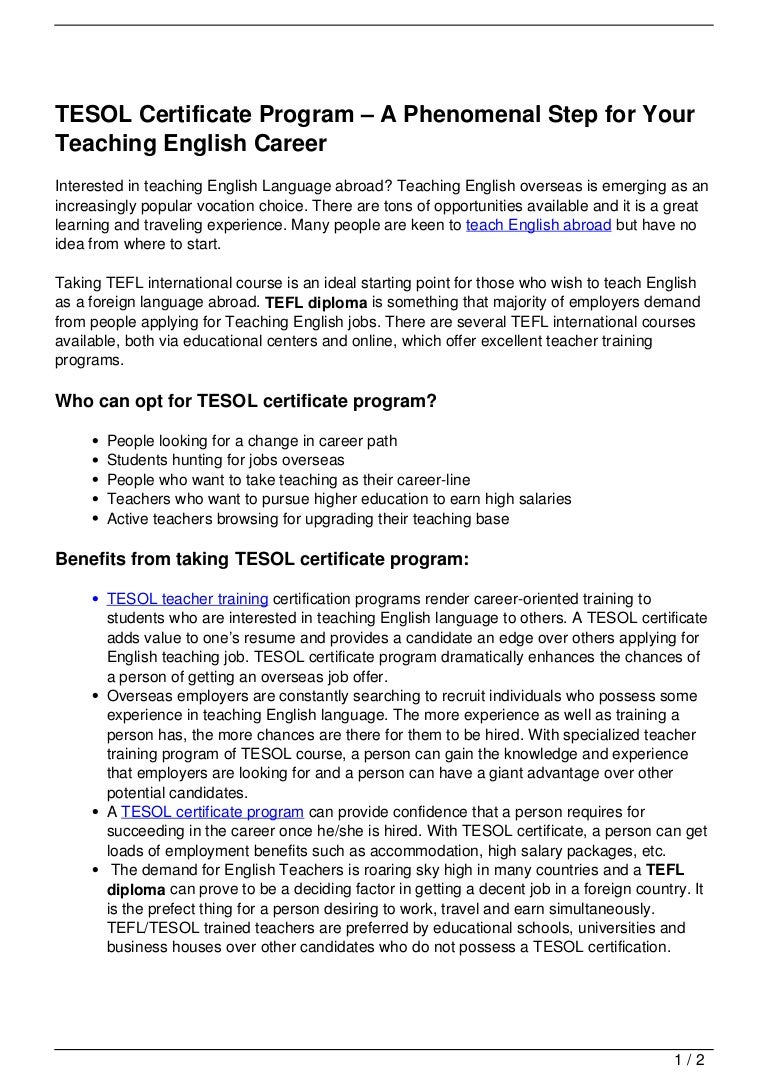 Tesol certificate program a phenomenal step for your teaching engli xflitez Image collections