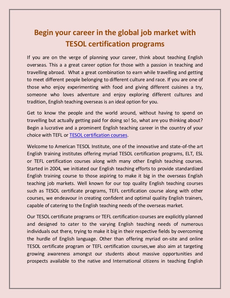 Tesol Certification Programs