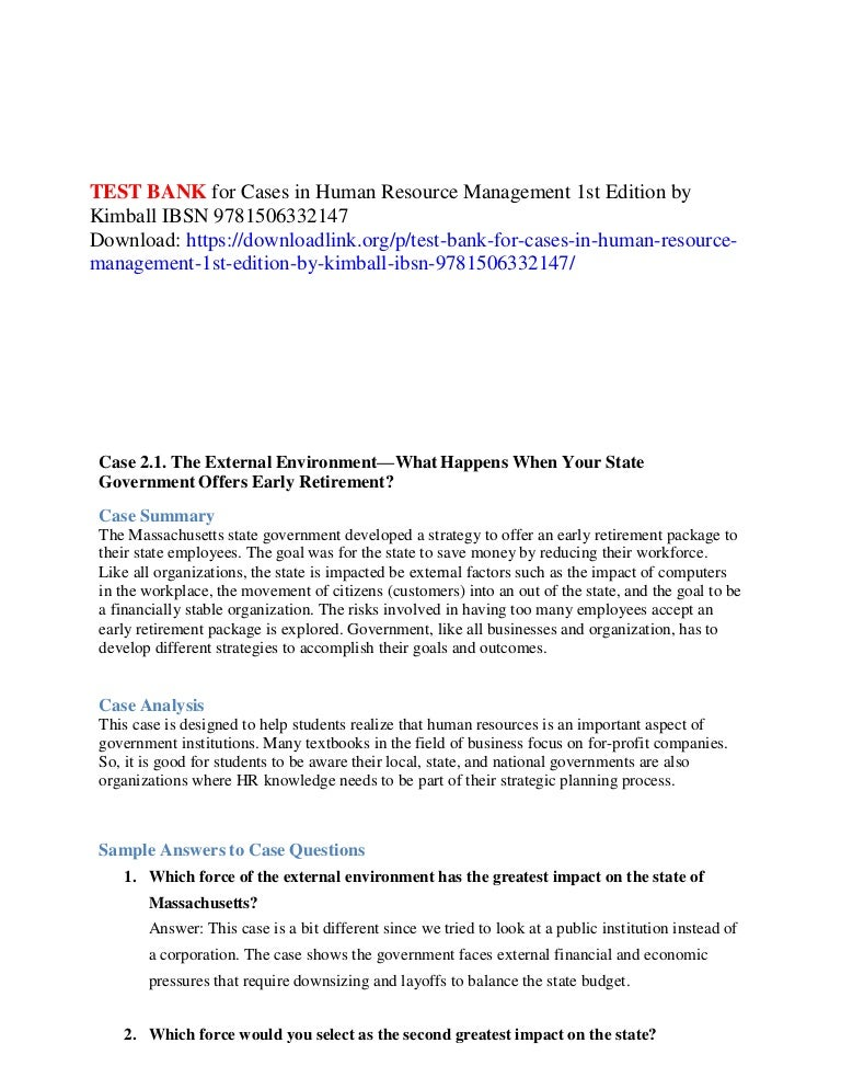Test bank for cases in human resource management 1st edition by kimba…