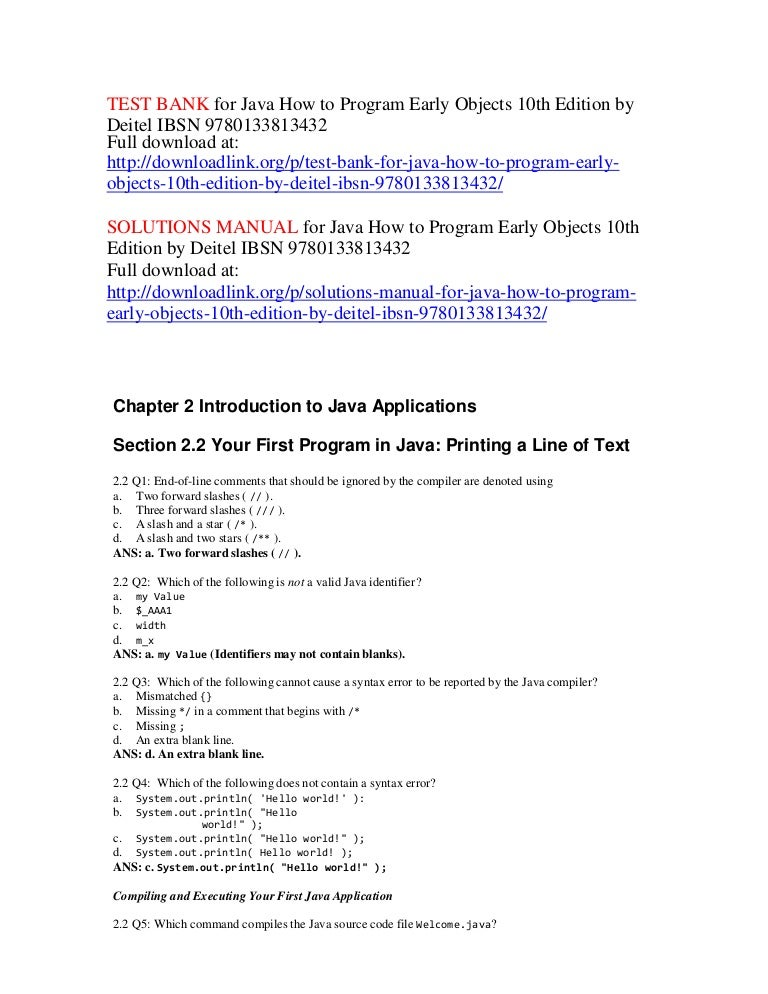 Test Bank For Java How To Program Early Objects 10th Edition By Deite