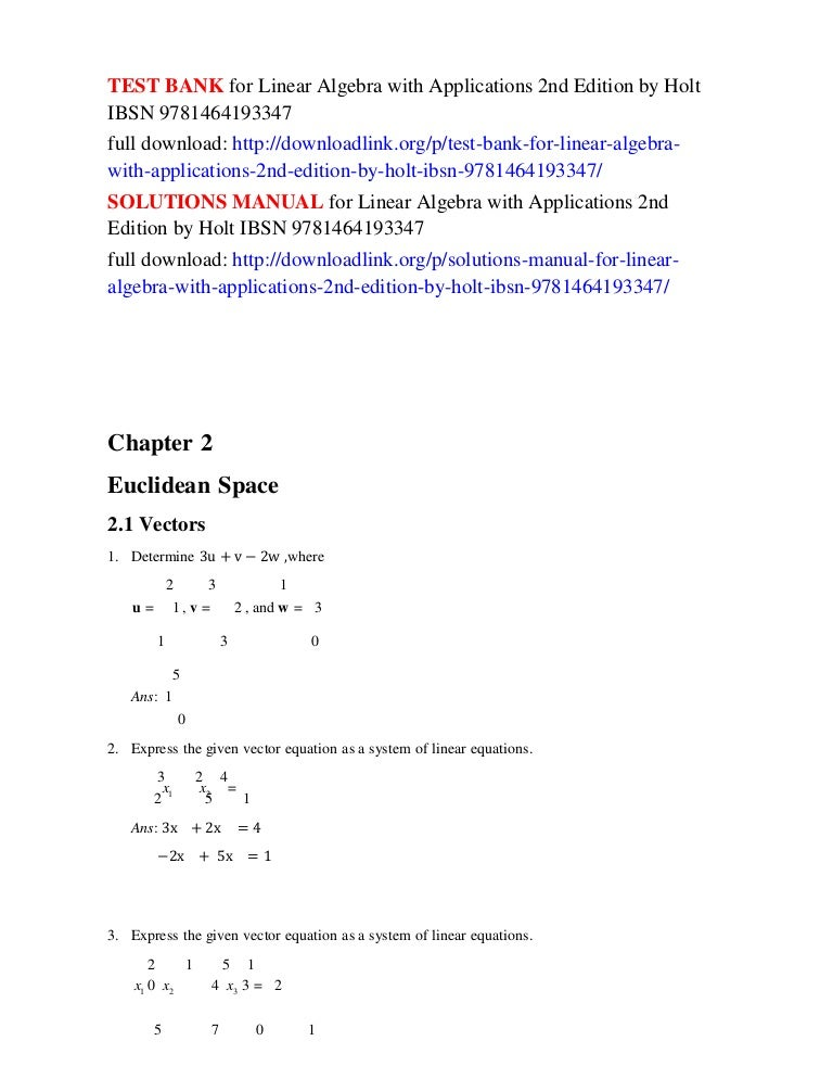 Test Bank For Linear Algebra With Applications 2nd Edition By Holt Ib