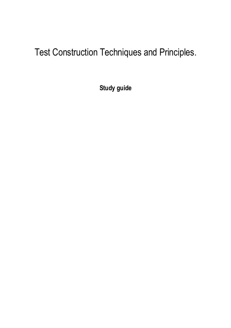 principles and techniques of test construction