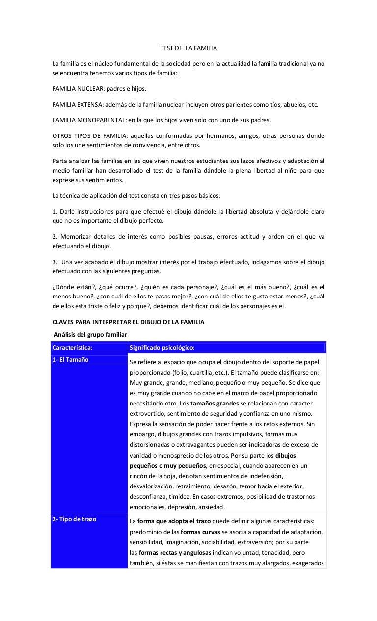 Worksheet. Test de la familia