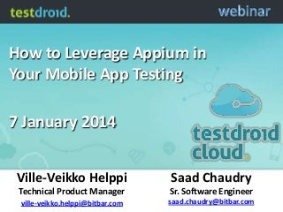 How to Leverage Appium in Your Mobile App Testing