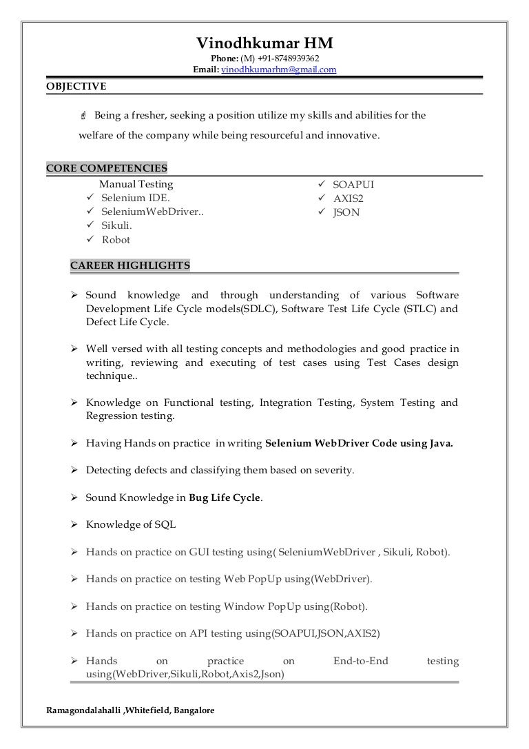 How To Write A Good Resume For Freshers Software Developer Resume Example  Resume Template Software Test  Web Services Testing Resume