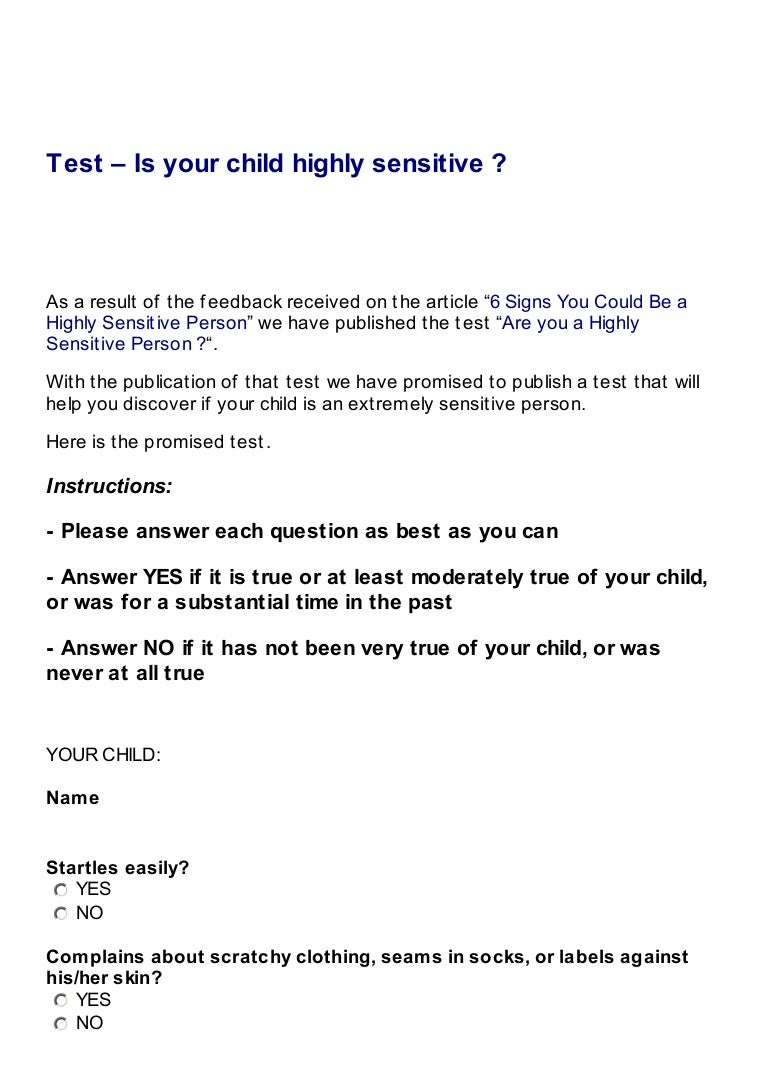 Test is your child highly sensitive hexwebz Image collections