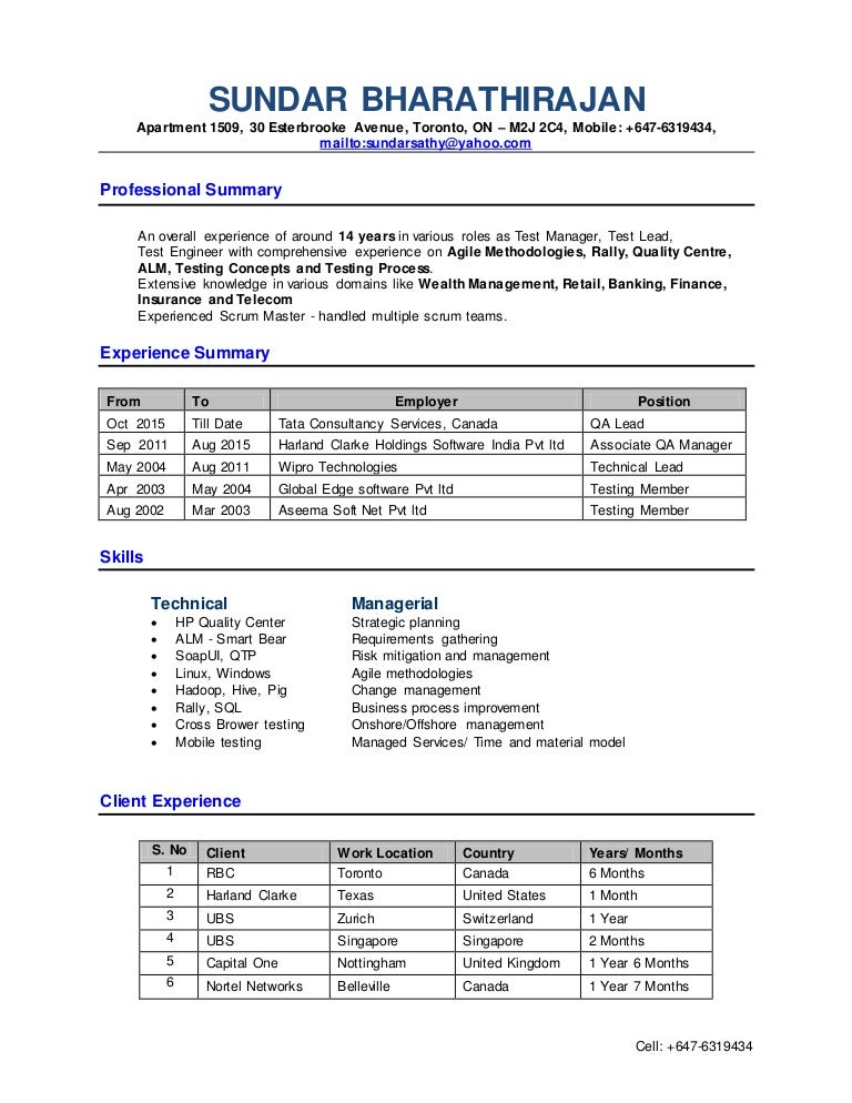 qa lead resume doc
