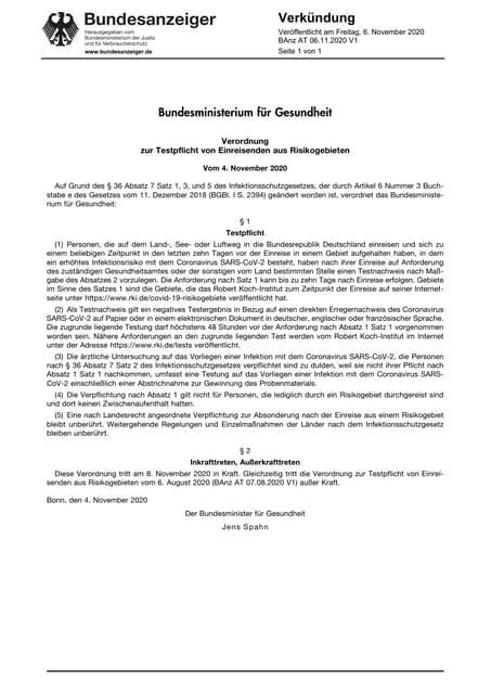 Deutsche Verordnung zur Testpflicht bei Einreise aus Risikogebieten