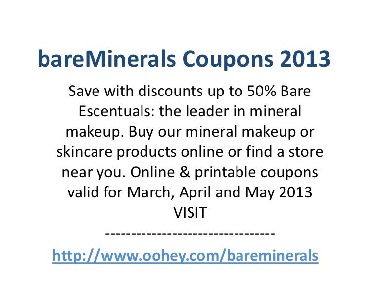 photo regarding Bare Minerals Printable Coupon titled bareMinerals Discount codes Code April 2013 Could possibly 2013 June 2013