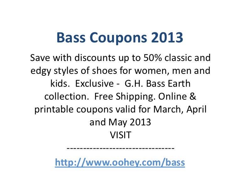 Bass Coupons Code April 2013 May 2013