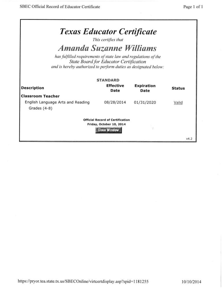 texas teaching certificate