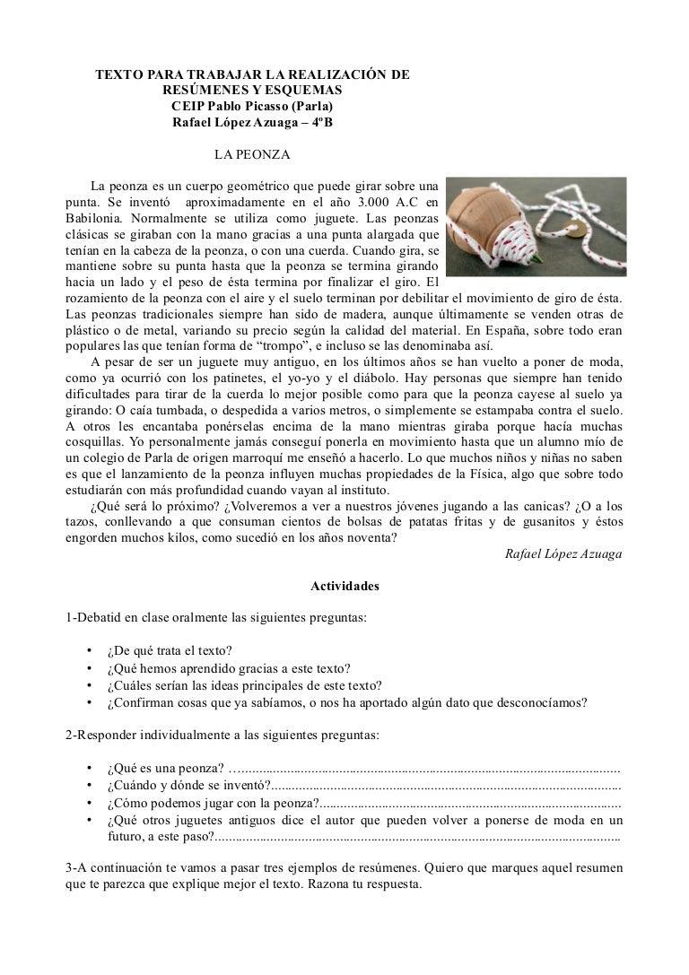 Texto para trabajar Técnicas de estudio - El resumen y el esquema