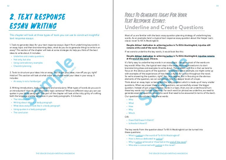 The Senior English Writing Handbook Text Response Chapter