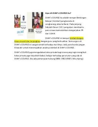BERKUALITAS! WA : 0896-3902-8987 TEMPAT BIMBEL DI JAKARTA BARAT DIAH's COURSE