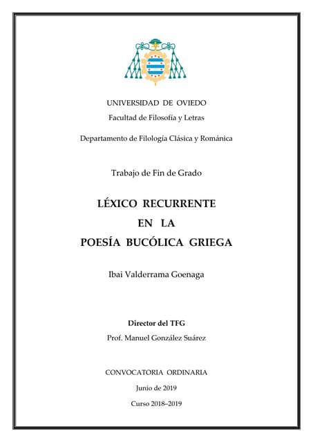 TFG sobre léxico en la poesía bucólica griega.