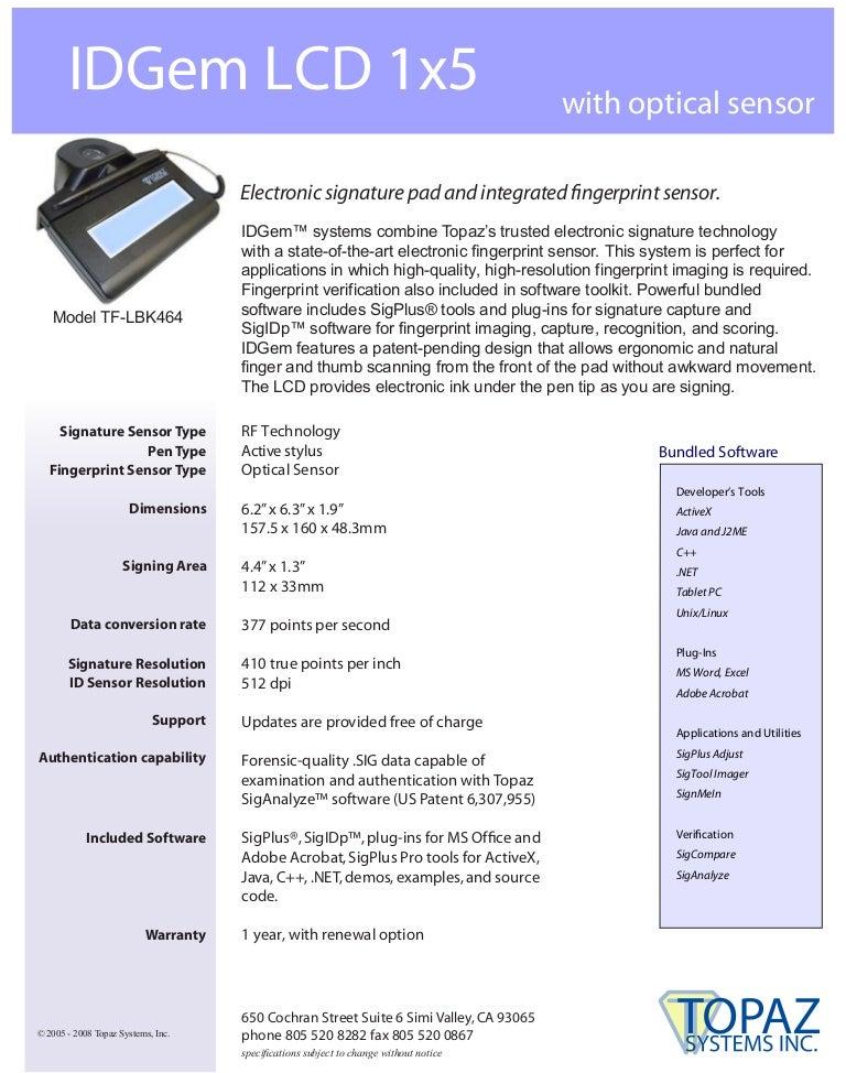 digitalizador de firmas topaz Tfl464