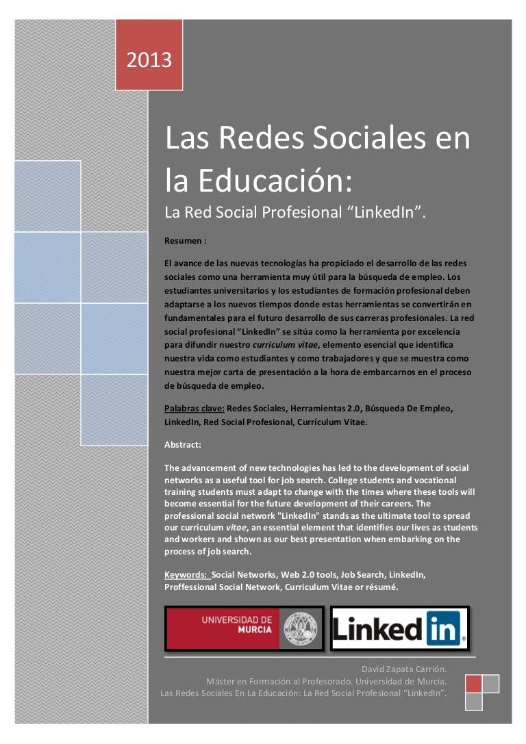 Las Redes Sociales en la Educación: La Red Social Profesional \