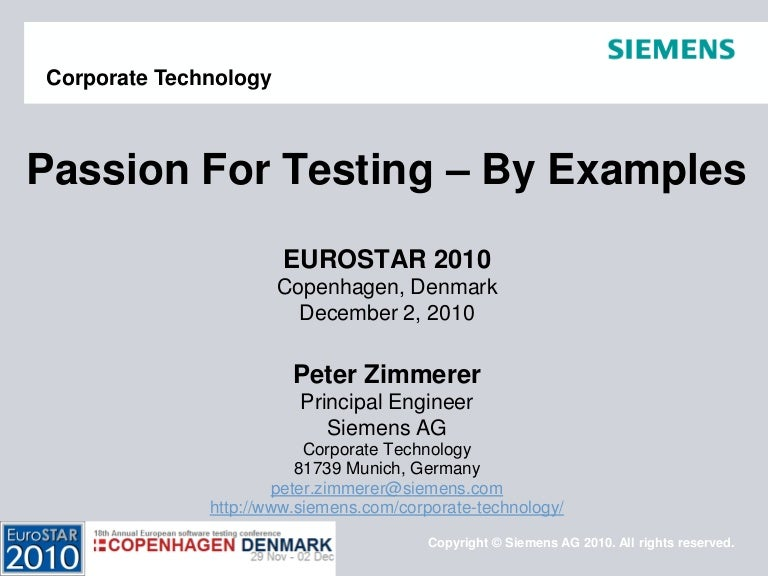 Peter Zimmerer Passion For Testing By Examples Eurostar 2010