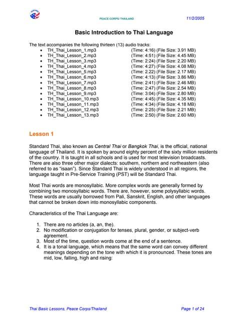 Basic Thai Language Course