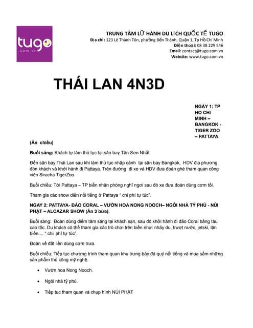 Tour Thái Lan 4N3D 4tr999 tại tugo.com.vn