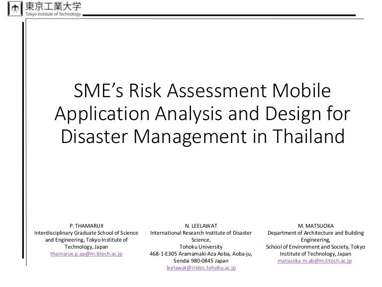 Thailand Business Risk Assessment for Disaster Management Patcharava – Business Risk Assessment