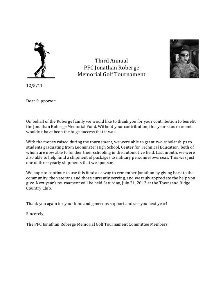 Thank You Letter Memorial Golf Tournament – Sponsorship Thank You Letter