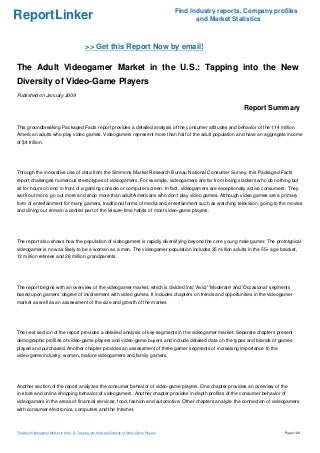 The Adult Videogamer Market in the U.S.: Tapping into the New Diversity of Video-Game Players