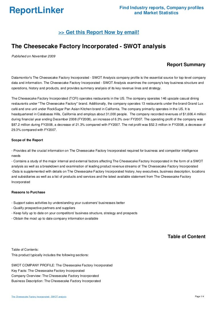 The Cheesecake Factory Incorporated - SWOT analysis