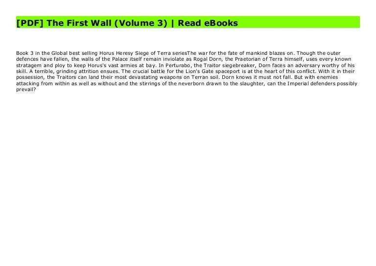 Free [PDF] The First Wall (Volume 3)   Read eBooks