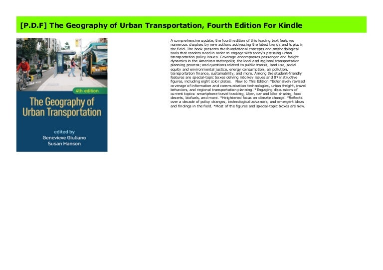 P D F The Geography Of Urban Transportation Fourth Edition For Kin