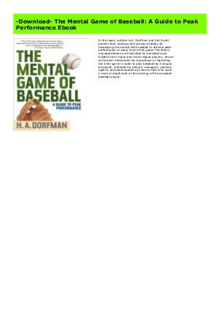 -Download- The Mental Game of Baseball: A Guide to Peak Performance Ebook