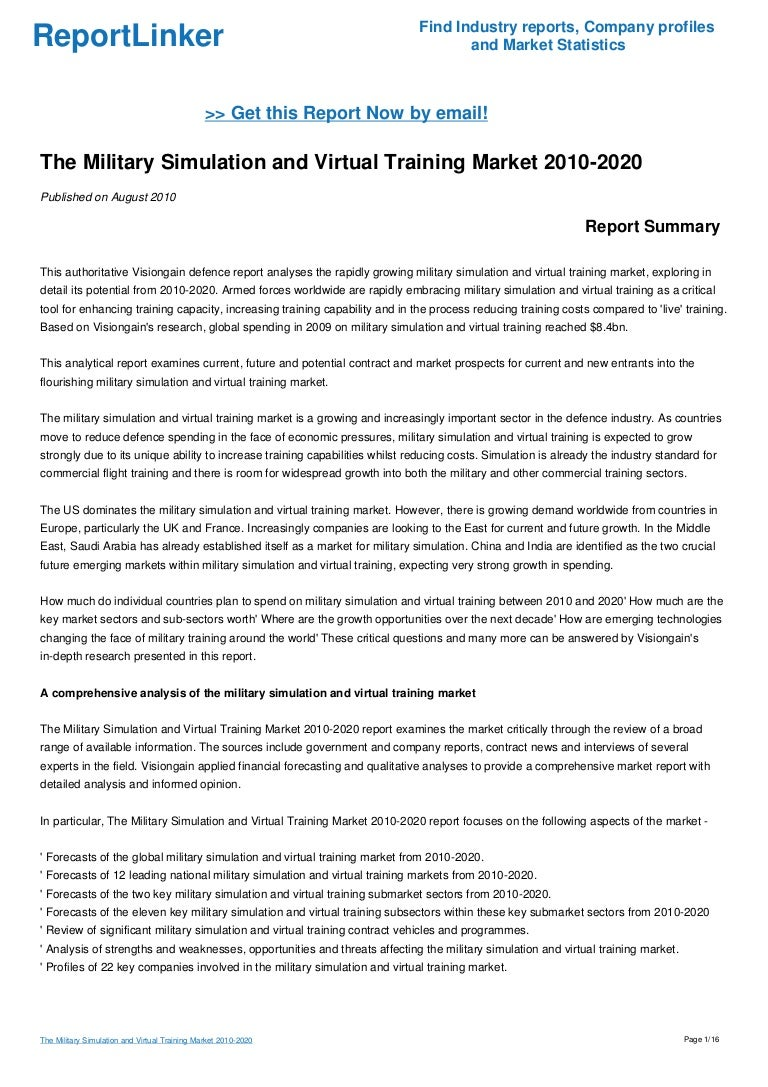The Military Simulation and Virtual Training Market 2010-2020