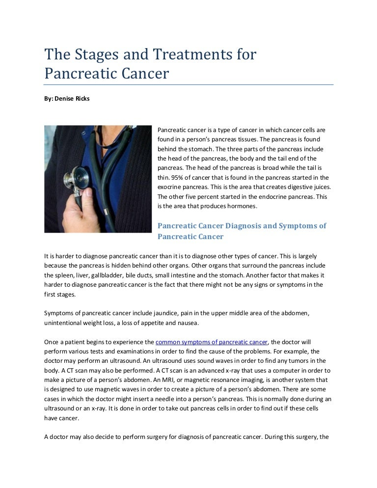 The Stages And Treatments For Pancreatic Cancer