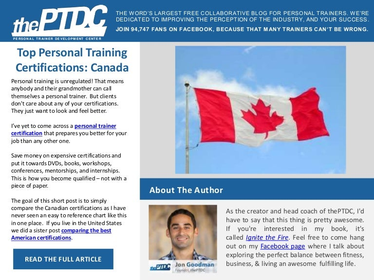 Top Personal Training Certifications Canada