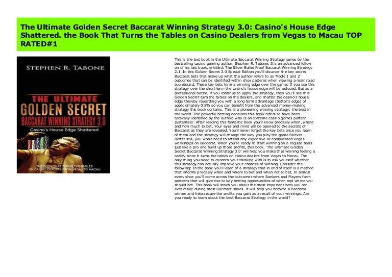 The Ultimate Golden Secret Baccarat Winning Strategy 3 0 Casino S Ho
