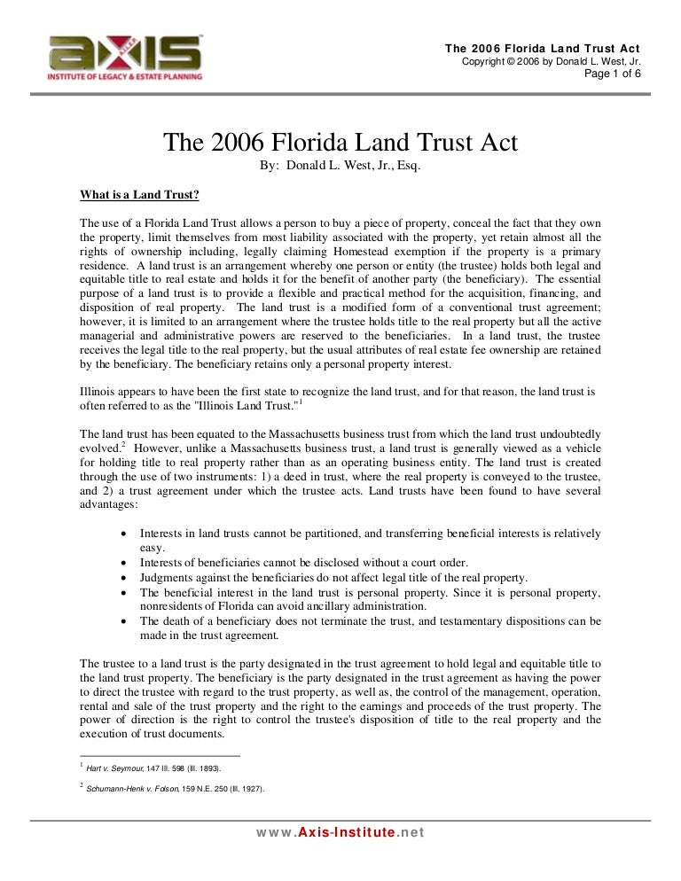 The 2006 Florida Land Trust Act