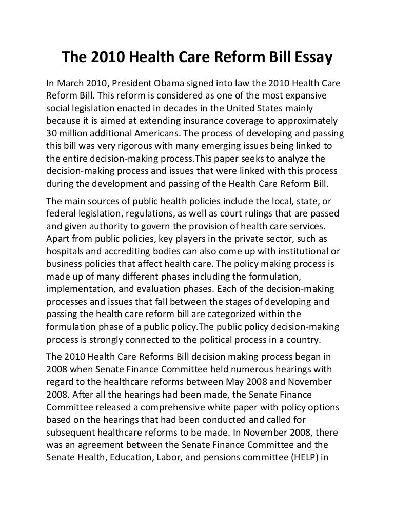 health care policy background essay Background health-related policy and its implementation is complex conceptual models can help show the flow from health-related policy development to health-related policy and program implementation and to health systems and health outcomes.