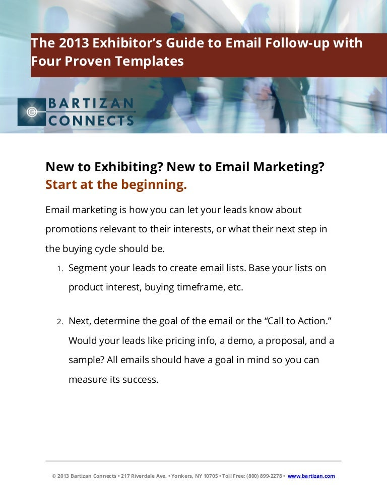 The 2013 Exhibitor'S Guide To Email Follow Up With Four Proven Templa…