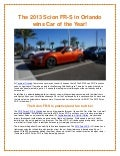 The 2013 Scion FR-S in Orlando is Car of the Year!
