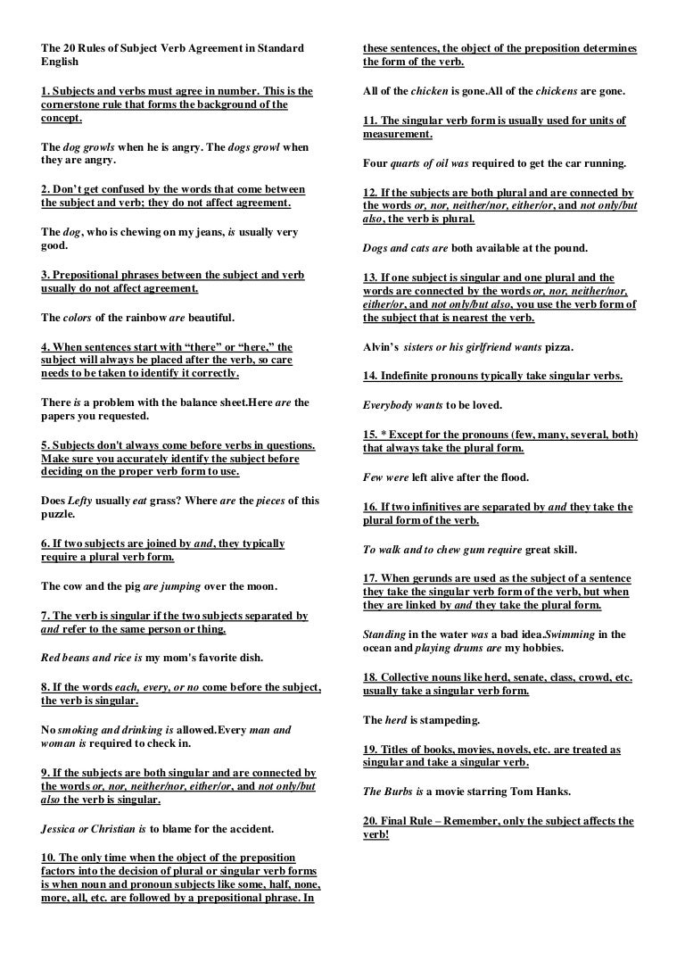 Subject verb agreement worksheets sample free download - Subject Verb Agreement Worksheets Sample Free Download 52